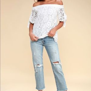 Lulus ivory lace off the shoulder top